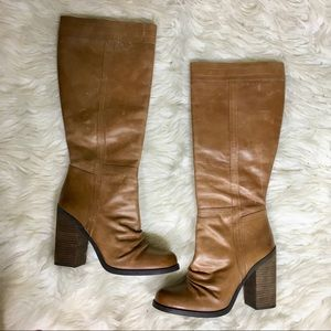 Jessica Simpson Cognac Leather Knee High Boots